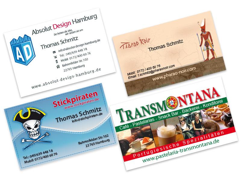 Visitenkarten Layouts Absolut Design Hamburg